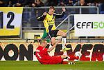 Nederland, Breda, 31 oktober 2012.KNVB Beker.Seizoen 2012-2013.NAC Breda-HBS.Jan-Paul Saeijs (l.) van HBS zet een sliding in op Danny Verbeek (r.) van NAC Breda.