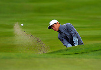 Andy Zhang (China) plays out of a bunker to the 12th green on day one of the 2017 Asia-Pacific Amateur Championship day one at Royal Wellington Golf Club in Wellington, New Zealand on Thursday, 26 October 2017. Photo: Dave Lintott / lintottphoto.co.nz