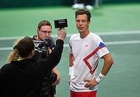 02-02-14,Czech Republic, Ostrava, Cez Arena, Davis Cup Czech Republic vs Netherlands,   Tomas Berdych (CZE)<br /> Photo: Henk Koster