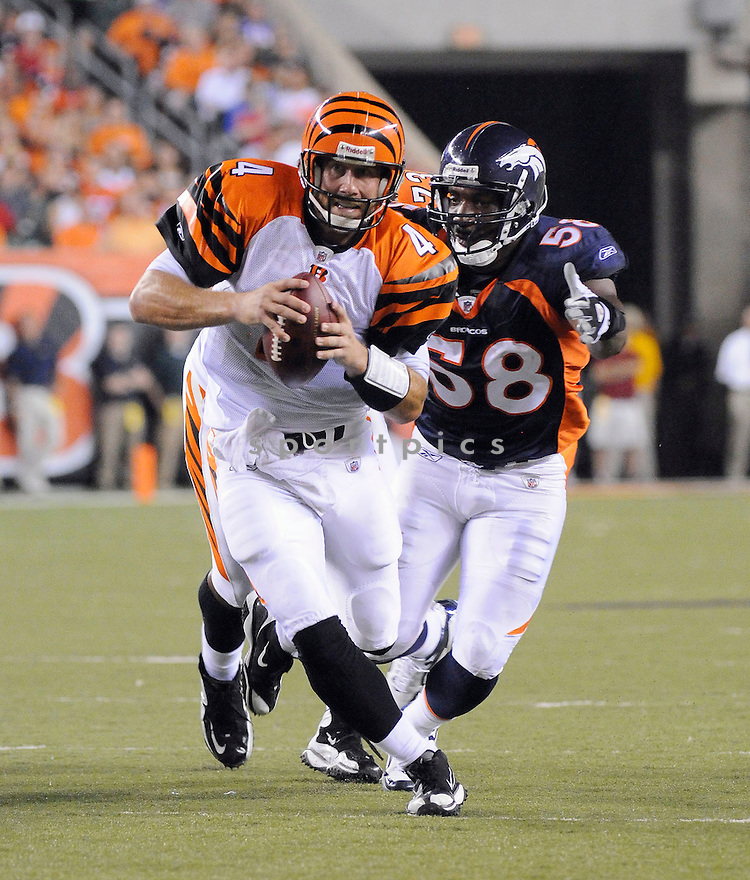 JT O'SULLIVAN, of the Cincinnati Bengals in action during the Bengals game against the Denver Broncos    at Paul Brown Stadium in Cincinnati, OH.  on August 20, 2010.  The Bengals beat the Broncos 22-9 in the second week of preseason games...
