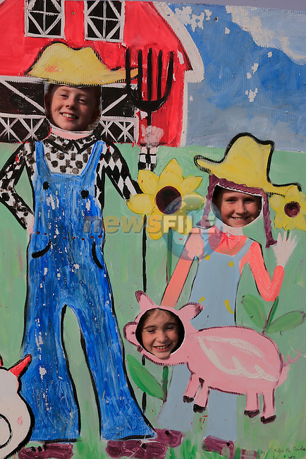 Laya Maher, Caoimhe Kearney and Roisin Murphy at the St. Colmcille's School,Tullydonnell, celebrates its Harvest Festival.<br /> Picture: www.newsfile.ie