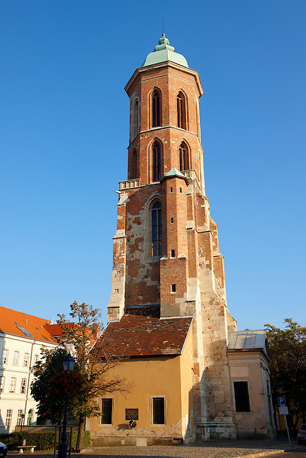 Ruins of the Maria Magdolna church destryed by bombing in the 2nd World War. Buda Catle district, Budapest, Hungary