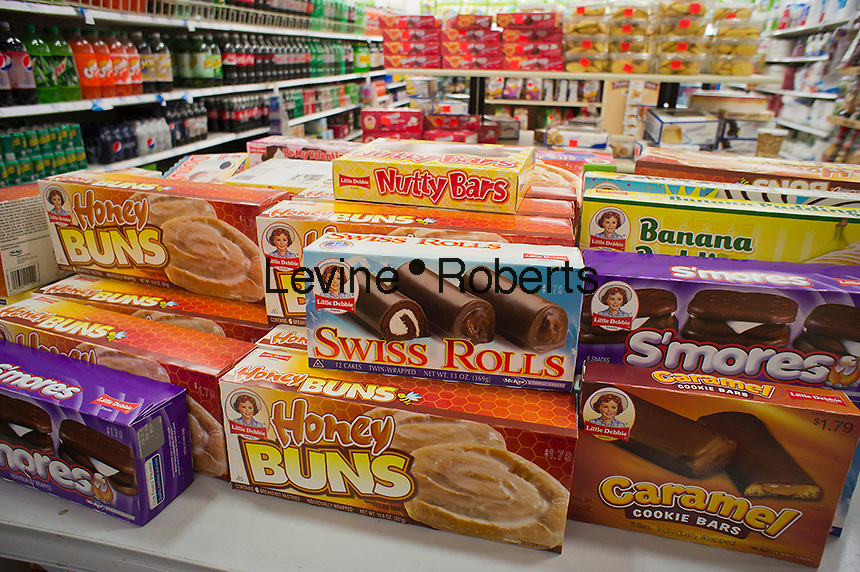 A selection of Little Debbie brand cakes in the grocery department in a store in New York on Sunday, January 29, 2012.  (© Richard B. Levine)