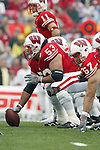 Madison, Wisconsin - 9/13/03. University of Wisconsin offensive lineman Donovan Raiola (53) during the UNLV game at Camp Randall Stadium. UNLV beat Wisconsin 23-5. (Photo by David Stluka)