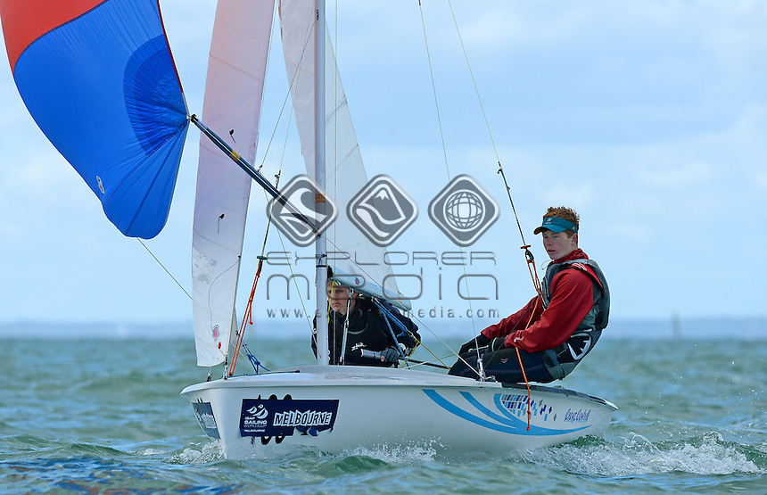 420 / Lloyd COLLINGS &amp; Samuel DANKS (AUS)<br /> 2013 ISAF Sailing World Cup - Melbourne<br /> Sail Melbourne - The Asia Pacific Regatta<br /> Sandringham Yacht Club, Victoria<br /> December 1st - 8th 2013<br /> &copy; Sport the library / Jeff Crow