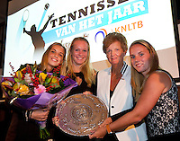 Amsterdam, Netherlands, December 14, 2015, Tennisser of the year diner, Richard Krajicek Award goes to Jean-Julien Rojer,  Betty Stove dish goes to the Lotto Ned Fed Cup Team, Esther Vergeer Award goes to Jiske Griffioen, Black Tulip Award (Zwarte tulp)  talent of the year goes to Tim van Rijthoven, <br /> Photo: Tennisimages/Henk Koster