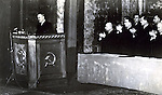 Soviet Russian Vyacheslav Mikhaylovich Molotov speaks before Soviet General Nikita Sergeyevich Khrushchev in Kiev, Ukraine sometime during WWII. This photo is from the estate of a Soviet photojournalist and his is the only information given with this photograph.