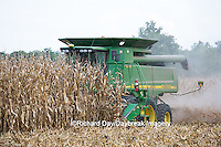 63801-07019 Farmer harvesting corn, Marion Co., IL