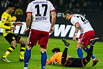 10.02.2018, Signal Iduna Park, Dortmund, GER, 1.FBL, Borussia Dortmund vs Hamburger SV, <br /> <br /> im Bild | picture shows:<br /> Roman Buerki (Borussia Dortmund #38) kl&auml;rt vor Sejad Salihovic (HSV #23), <br /> <br /> <br /> Foto &copy; nordphoto / Rauch