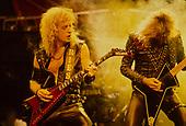 JUDAS PRIEST - KK Downing and Glenn Tipton - performing live on the Mercenaries of Metal Tour at the Odeon Hammersmith in London UK - 13 Jun 1988.  Photo credit: