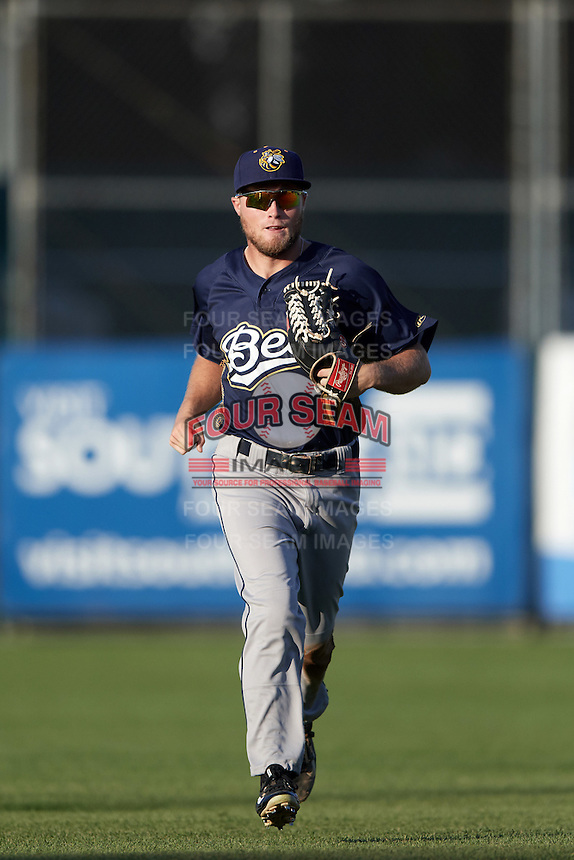 Burlington Bees center fielder Brennon Lund (11) jogs to the dugout during a game against the South Bend Cubs on July 22, 2016 at Four Winds Field in South Bend, Indiana.  South Bend defeated Burlington 4-3.  (Mike Janes/Four Seam Images)