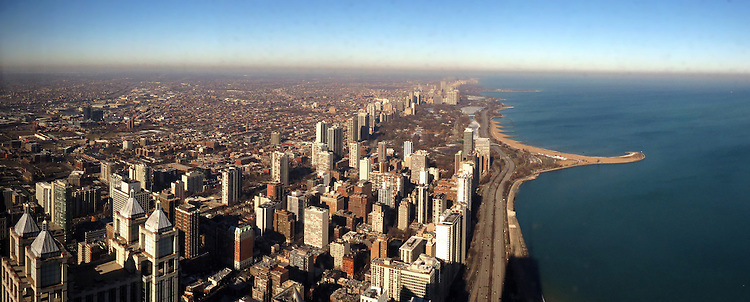 Chicago Scenes: Chicago skyline panoramic from the John Hancock Center, downtown Chicago. (DePaul University/Jamie Moncrief)