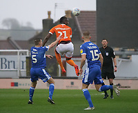 Blackpool's Armand Gnanduillet heads the ball during the game <br /> <br /> Photographer Ian Cook/CameraSport<br /> <br /> The EFL Sky Bet League One - Bristol Rovers v Blackpool - Saturday 15th February 2020 - Memorial Stadium - Bristol<br /> <br /> World Copyright © 2020 CameraSport. All rights reserved. 43 Linden Ave. Countesthorpe. Leicester. England. LE8 5PG - Tel: +44 (0) 116 277 4147 - admin@camerasport.com - www.camerasport.com