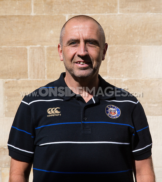 Kit Manager Steve Middleton poses for a portrait at a Bath Rugby photocall. Bath Rugby Media Day on September 8, 2015 at Farleigh House in Bath, England. Photo by: Rogan Thomson for Onside Images