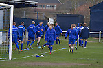 Glossop North End 0 Barnoldswick Town 1, 19/02/2011. Surrey Street, North West Counties League Premier Division. Glossop North End players warming up at the club's Surrey Street ground before their game with Barnoldswick Town in the Vodkat North West Counties League premier division. The visitors won the match by one goal to nil watched by a crowd of 203 spectators. Glossop North End celebrated their 125th anniversary in 2011 and were once members of the Football League in England, spending one season in the top division in 1899-00. Photo by Colin McPherson.