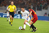 31st October 2017, Stadio Olimpico, Rome, Italy; UEFA Champions League, Roma versus Chelsea;  Eden Hazard of Chelsea brings the ball forward