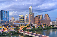 This is an image of the Austin skyline in downtown.  This image captured the Lady Bird Lake, the Frost, Austonian, W building along with the first street bridge and Austin City Hall with many other.