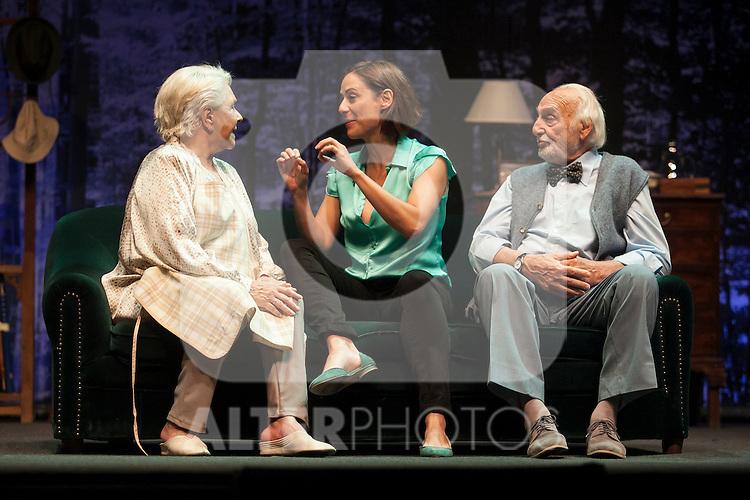 Spanish actress Lola Herrera, Luz Valdenebro and Argentinian actor Hector Alterio perform during `El lago dorado´ theater play in Madrid, Spain. August 17, 2015. (ALTERPHOTOS/Victor Blanco)