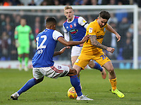 Preston North End's Sean Maguire takes on Ipswich Town's Jordan Spence<br /> <br /> Photographer David Shipman/CameraSport<br /> <br /> The EFL Sky Bet Championship - Ipswich Town v Preston North End - Saturday 3rd November 2018 - Portman Road - Ipswich<br /> <br /> World Copyright &copy; 2018 CameraSport. All rights reserved. 43 Linden Ave. Countesthorpe. Leicester. England. LE8 5PG - Tel: +44 (0) 116 277 4147 - admin@camerasport.com - www.camerasport.com