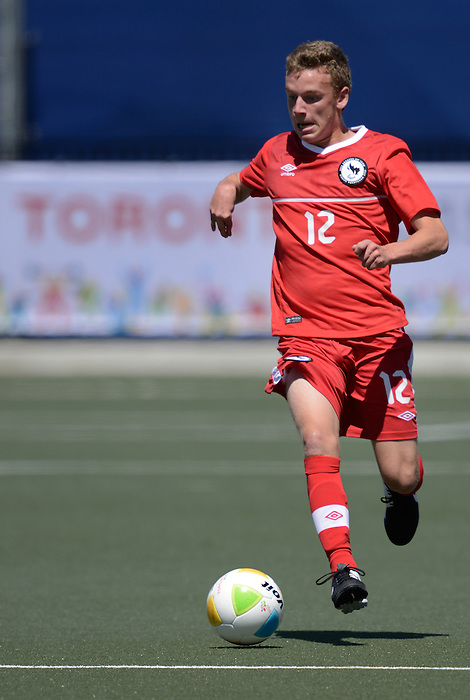 Toronto, ON - Aug 9 2015 -  Nick Heffernan controls the call during Canada vs United States in Football 7-a-side at the Parapan Am Fields during the Toronto 2015 Parapan American Games  (Photo: Matthew Murnaghan/Canadian Paralympic Committee)