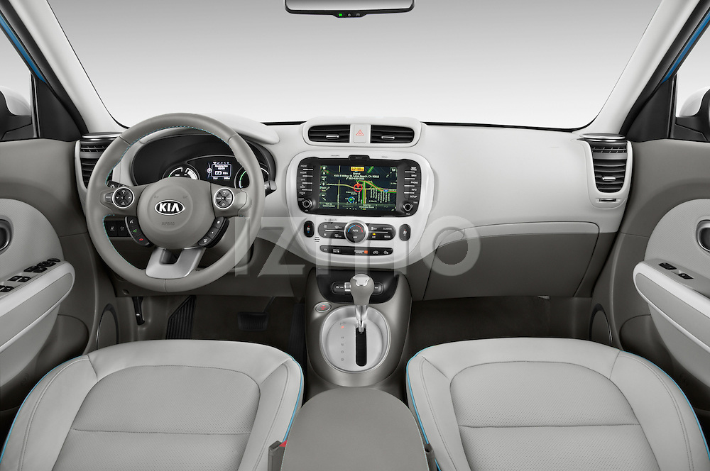 Stock photo of straight dashboard view of2015 KIA Soul EV Base 5 Door Wagon Dashboard