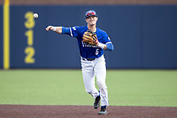 Indiana State Sycamores shortstop Clay Dungan (6) makes a throw to first base against the Michigan Wolverines on April 10, 2019 in the NCAA baseball game at Ray Fisher Stadium in Ann Arbor, Michigan. Michigan defeated Indiana State 6-4. (Andrew Woolley/Four Seam Images)