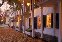 fall, Manchester Village, VT, Vermont, The Equinox Village Shops illuminated in the evening in Manchester Village in autumn.