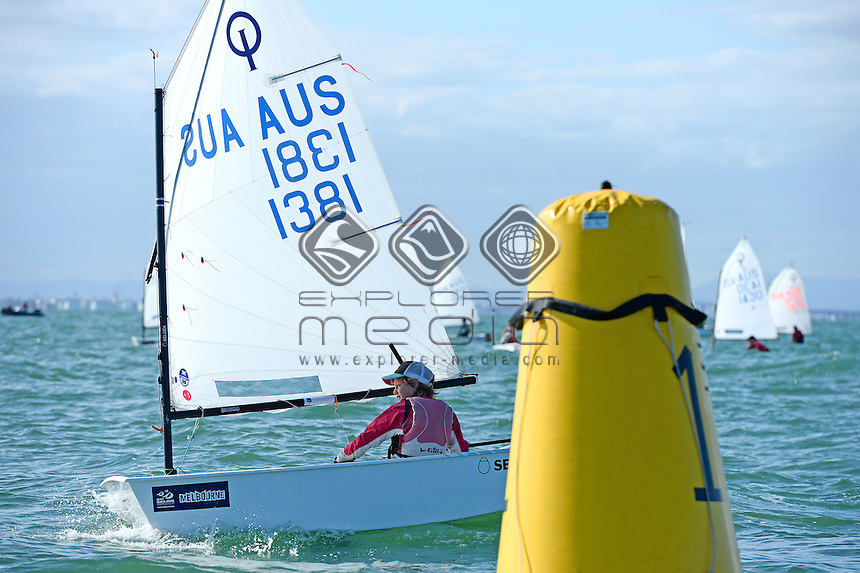 Optimist / Alexander HIGGINS (AUS)<br /> 2013 ISAF Sailing World Cup - Melbourne<br /> Sail Melbourne - The Asia Pacific Regatta<br /> Sandringham Yacht Club, Victoria<br /> December 1st - 8th 2013<br /> &copy; Sport the library / Jeff Crow