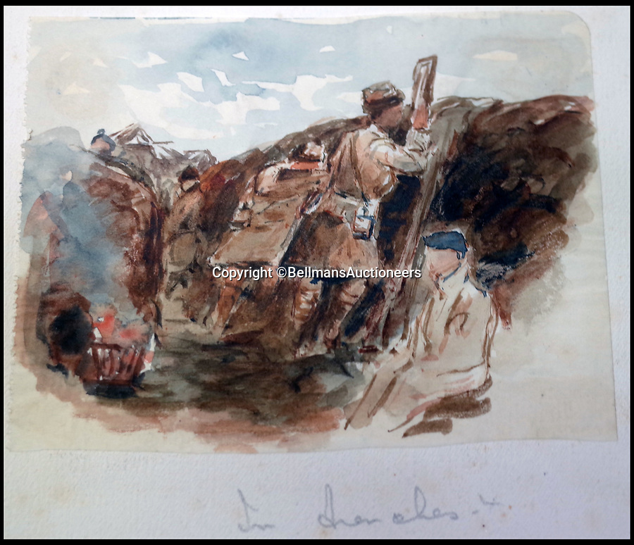 BNPS.co.uk (01202 558833)<br /> Pic: BellmansAuctioneers/BNPS<br /> <br /> Seaforth Highlander viewing the German trenches throug a periscope.<br /> <br /> A collection of beautiful First War watercolours that offer a fascinating glimpse into one man's life in the trenches has emerged for sale a century later.<br /> <br /> Talented artist Finlay Mackinnon, who exhibited multiple times at the prestigious Royal Academy, answered the call to sign up in 1914 and spent almost all of the First World War fighting in France.<br /> <br /> But in his free time on the front he did what he loved best, capturing life in the trenches and also the beauty of their bleak surroundings in his pictures.<br /> <br /> Bellmans Auctioneers, who are selling the album of artwork, know little about the provenance of the album, which is expected to fetch £4,000 at auction.