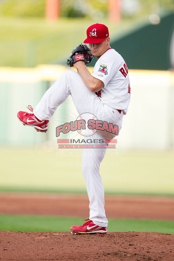 Trevor Rosenthal (44) of the Springfield Cardinals winds up during a game against the Arkansas Travelers at Hammons Field on June 13, 2012 in Springfield, Missouri. (David Welker/Four Seam Images).