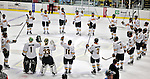 30 October 2010: The University of Vermont Catamounts salute their fans after a game against the University of Maine Black Bears at Gutterson Fieldhouse in Burlington, Vermont. The Black Bears defeated the Catamounts 3-2 in sudden death overtime. Mandatory Credit: Ed Wolfstein Photo