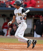 Iowa Hawkeyes infielder Kris Goodman #4 during a game against the Illinois State Redbirds at Chain of Lakes Stadium on March 11, 2012 in Winter Haven, Florida.  Illinois State defeated Iowa 10-6.  (Mike Janes/Four Seam Images)