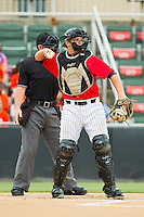Kannapolis Intimidators catcher Brent Tanner (43) throws the ball back to his pitcher during the South Atlantic League game against the Lexington Legends at CMC-Northeast Stadium on July 31, 2013 in Kannapolis, North Carolina.  The Intimidators defeated the Legends 3-2.  (Brian Westerholt/Four Seam Images)