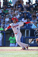Cristian Inoa (4) of the Spokane Indians bats against the Hillsboro Hops at Ron Tonkin Field on July 23, 2017 in Hillsboro, Oregon. Spokane defeated Hillsboro, 5-3. (Larry Goren/Four Seam Images)