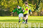 Stan Divane Castleisland and Robert Watson Killarney Celtic contest the 50/50 ball during their Munster Junior cup clash in Castleisland on Sunday
