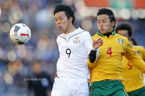 (L-R) Ryota Aoyagi (Maebashi Ikuei), Keita Takahashi (Seiryo), <br /> JANUARY 12, 2015 - Football / Soccer : <br /> 93rd All Japan High School Soccer Tournament final match between Maebashi Ikuei 2-4 Seiryo at Sitama Stadium 2002, Saitama, Japan. <br /> (Photo by Yusuke Nakanishi/AFLO SPORT) [1090]