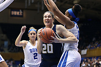 DURHAM, NC - JANUARY 26: Nerea Hermosa #20 of Georgia Tech fights through traffic during a game between Georgia Tech and Duke at Cameron Indoor Stadium on January 26, 2020 in Durham, North Carolina.