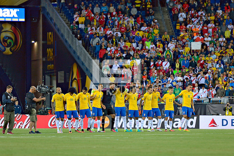 Photo during the match Brasil vs Peru, Corresponding to  Group -B- of the America Cup Centenary 2016 at Gillette Stadium.<br /> <br /> Foto durante al partido Brasil vs Peru, Correspondiente al Grupo -B- de la Copa America Centenario 2016 en el Estadio Gillette en la foto: Seleccion Brasil<br /> <br /> <br /> 12/06/2016/MEXSPORT/ISAAC ORTIZ
