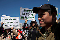 Immigration Activists And Immigrants take part during a rally at Liberty State Park in New Jersey , April 06, 2013. VIEWpress /Kena Betancur
