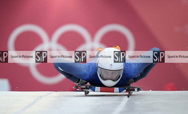 Laura Deas (GBR). Womens Skeleton training. Pyeongchang2018 winter Olympics. Olympic sliding centre. Alpensia. Pyeongchang. Republic of Korea. 07/02/2018. ~ MANDATORY CREDIT Garry Bowden/SIPPA - NO UNAUTHORISED USE - +44 7837 394578