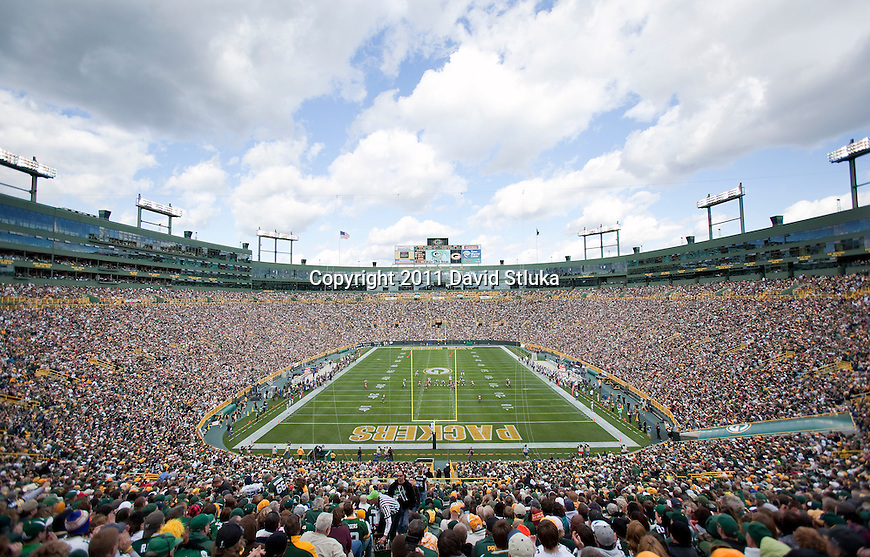 A general view of Lambeau Field during the Green Bay Packers Week 6 NFL football game against the St. Louis Rams on October 16, 2011 in Green Bay, Wisconsin. The Packers won 24-3. (AP Photo/David Stluka)