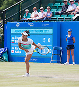 June 14th 2017, Nottingham,  England; WTA Aegon Nottingham Open Tennis Tournament day 5;  Kurumi Nara of Japan serves trying to save the first set against Tsvetana Pironkova of of Bulgaria