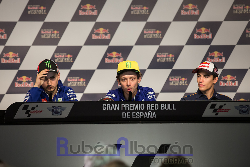 Jorge Lorenzo, Valentino Rossi and Marc Marquez during qualifying press conference in Motorcycle Championship GP, in Jerez, Spain. April 23, 2016