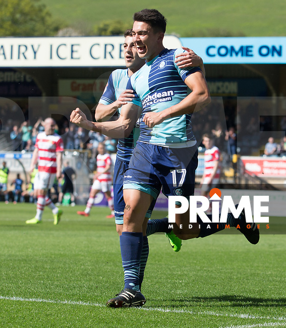 Luke O'Nien of Wycombe Wanderers celebrates his first goal during the Sky Bet League 2 match between Wycombe Wanderers and Doncaster Rovers at Adams Park, High Wycombe, England on 22 April 2017. Photo by James Williamson / PRiME Media Images.