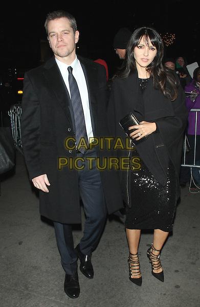 NEW YORK, NY - JANUARY 5: Matt Damon, Luciana Barroso at the National Board Of Review Gala Honoring The 2015 Award Winners at Cipriani in New York City on January 5, 2016. <br /> CAP/MPI/RW<br /> &copy;RW/MPI/Capital Pictures