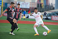 BROOKLYN, NY - Saturday May 02, 2015: The New York Cosmos beat Ottawa Fury FC 1-0 at a special guest stadium, MCU Park, home of the Brooklyn Cyclones single A baseball on Coney Island in Brooklyn, New York in regular season NASL play.