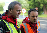 Pictured L-R: Andrew Evans of West Brecon Mountain Rescue Team and Richard Tyrrel of Central Beacons Mountain Rescue Team give a short press conference at Tafarn Y Garreg, Powys, Wales UK. Wednesday 29 June 2016<br />
