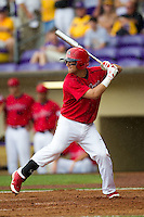 Stony Brook Seawolves second baseman Maxx Tissenbaum #8 at bat during the NCAA Super Regional baseball game against LSU on June 9, 2012 at Alex Box Stadium in Baton Rouge, Louisiana. Stony Brook defeated LSU 3-1. (Andrew Woolley/Four Seam Images)