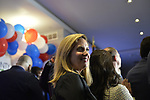 Garden City, New York, USA. November 6, 2018. Nassau County Democrats watch Election Day results at Garden City Hotel, Long Island. On stage joining the  candidates were elected officials, including Hempstead Town Supervisor LAURA GILLEN.