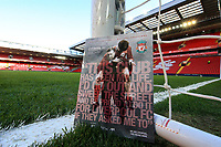 1st February 2020; Anfield, Liverpool, Merseyside, England; English Premier League Football, Liverpool versus Southampton; today's match programme on the goal line at the Kop end, featuring former club legends Bob Paisley and Emlyn Hughes on the cover